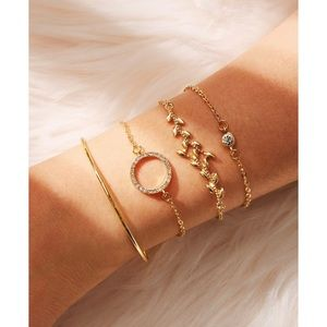 Leaf & Rhinestone Circle Detail Bracelet 4pcs